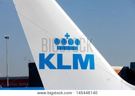 Amsterdam, The Netherlands - August 31, 2016: Tail of KLM Boeing 747 parked at Amsterdam's Schiphol airport, KLM's home airport.