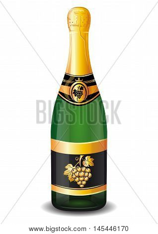 Champagne bottle with gold foil. Bottle of champagne with a golden bunch of grapes on the label. Vector illustration isolated on a white background