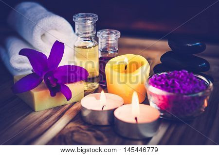 Purple Spa Theme with Bath Salt Oil candle and Orchid The concept Wellness.