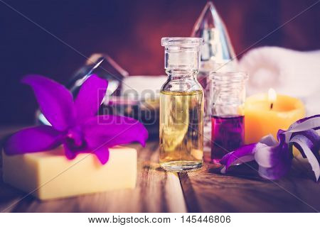 Purple Spa Theme with Oil candle and Orchid The concept Wellness.