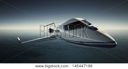 Photo of White Luxury Generic Design Private Jet Flying in Sky at night. Blue Ocean Background. Business Travel Picture. Wide. Front view.Film Effect. 3D rendering