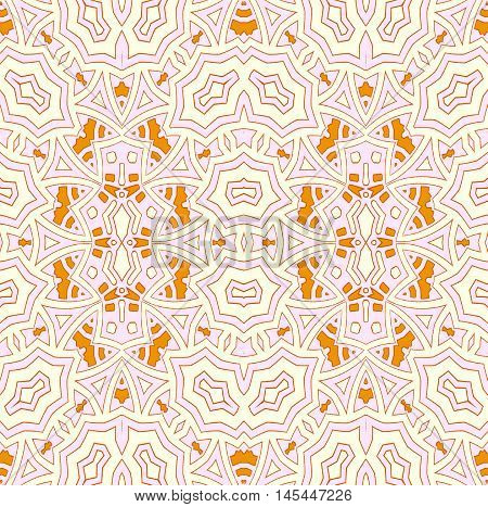 Abstract geometric seamless background. Regular ornament with orange, beige and pink elements and outlines, delicate and ornate.