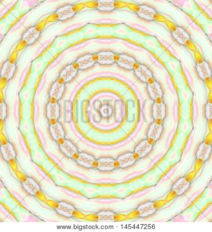 Abstract geometric seamless background. Concentric circle ornament in pink and mint green shades with yellow orange elements, delicate and dreamy.