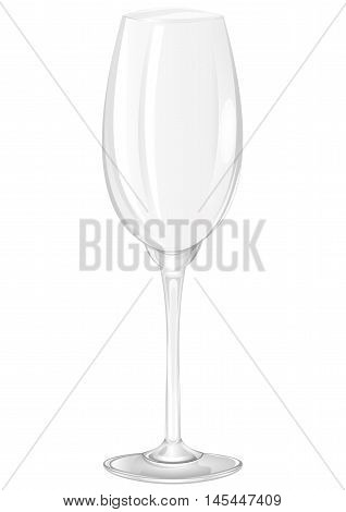 An empty glass goblet on a white background. Vector illustration.