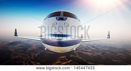 Closeup Photo of White Luxury Generic Design Private Aircraft Flying in Blue Sky.Uninhabited Desert Mountains Sun Background.Front View.Business Travel Picture.Horizontal, Film Effect. 3D rendering