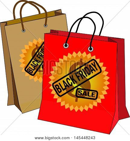 Black friday. Vector illustration of two bags in red and brown with Black friday icon and dollar simbol