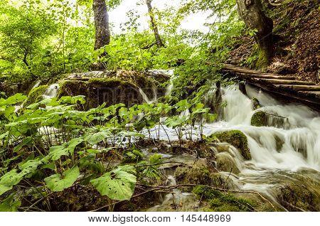 water stream landscape at plitvicka lake national park unesco heritae site plitvice croatia.