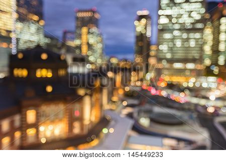 Blurred bokeh lights Tokyo city train station, abstract background