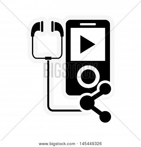 flat design mp3 player and connection icon vector illustration