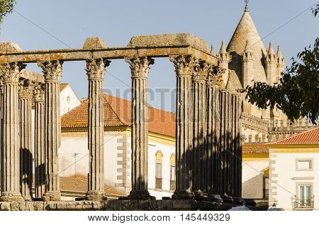 view of the temple of diane in Evora unesco heritage site. portugal