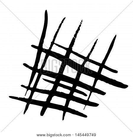 Abstract image of simple black shapes on a white background. Pattern consists of intersecting lines of different lengths and widths.