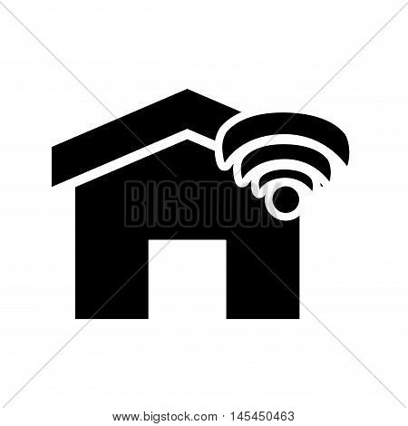flat design house and wifi signal icon vector illustration