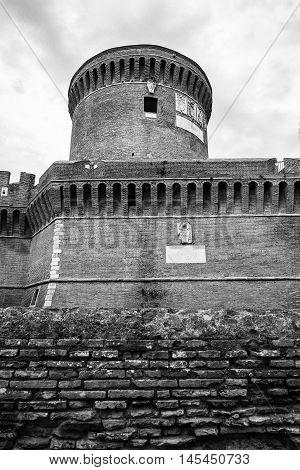 Castle Of Giulio Ii Ostia Site Black And White