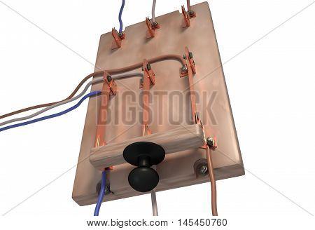 Circuit breaker switch. Power cut. 3d render