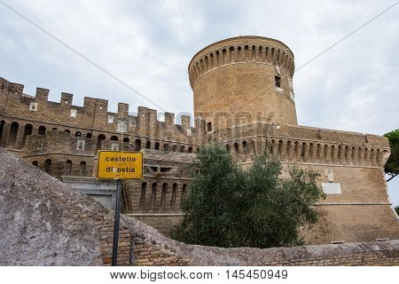 Castle of Giulio II in Ostia Antica Rome and Church