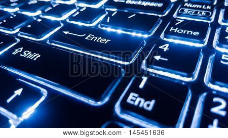 Neon keyboard with enter button. Focus on the enter button.