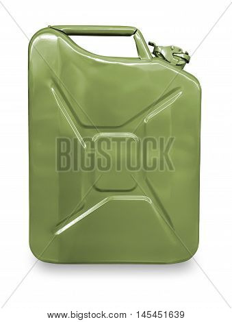 Green metal canister for gasoline on a white background.