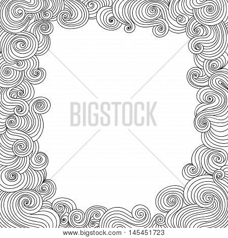 Vector abstract black and white decorative frame with curling lines