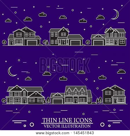 Neighborhood With Homes Illustrated White And Purple Background.