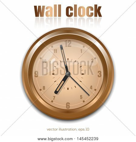 Gold wall clock on a white background. Vector illustration