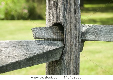 Old weathered vintage wooden fence detail closeup