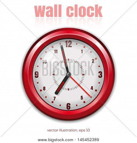Red wall clock on a white background. Vector illustration