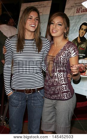 Vanessa Lengies and Missy Peregrym at the Los Angeles premiere of 'Waiting' held at the Mann Bruin Theater in Westwood, USA on September 29, 2005.