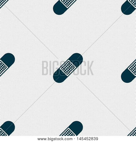 Band Aid Icon Sign. Seamless Pattern With Geometric Texture. Vector