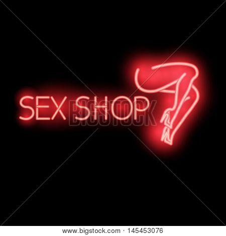 Neon Sign - Sex Shop, A Bright Red Billboard,