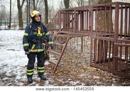 MOSCOW - DEC 17, 2014: Man on training of rescue workers in North Eastern Administrative District (Russian Emergency Situations Ministry)