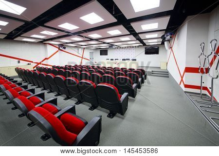 MOSCOW - DEC 25, 2014: Empty meeting room for press conferences in Spartak stadium. New stadium is included in list of objects for games will be played at 2018 World Cup