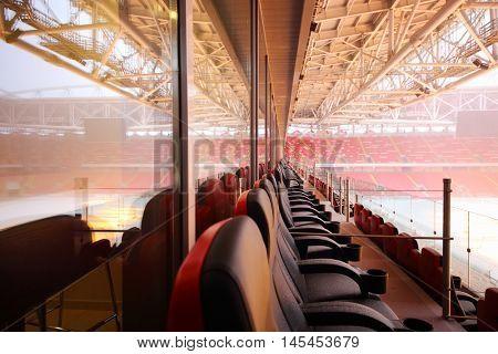 MOSCOW - DEC 25, 2014: Empty new Spartak stadium. Stadium capacity - 45 000 people. Stadium was built in 2010-2014