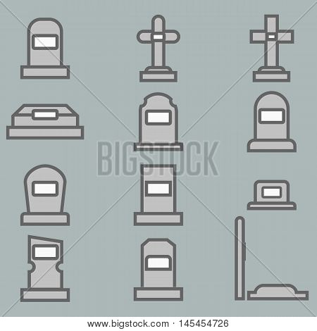 12 Grave vector icons set. Eps 10