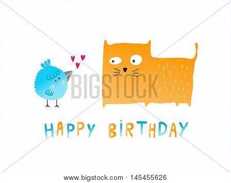 Happy Birthday bird and cat card vector illustration
