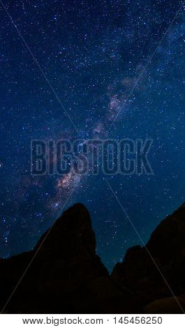 Detail of Milky Way Galaxy over mountain Long exposure photograph.