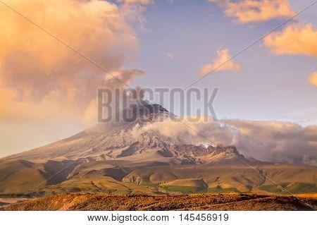Cotopaxi Volcano Erupting In Ecuador South America