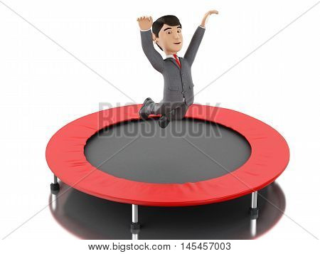 3d Illustration. Businessman jumping on a trampoline. Business and success concept. Isolated white background.