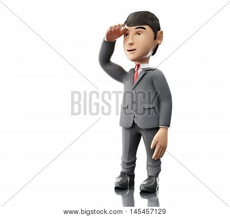 3d Illustration. Businessman standing and looking forward. Business concept. Isolated white background.