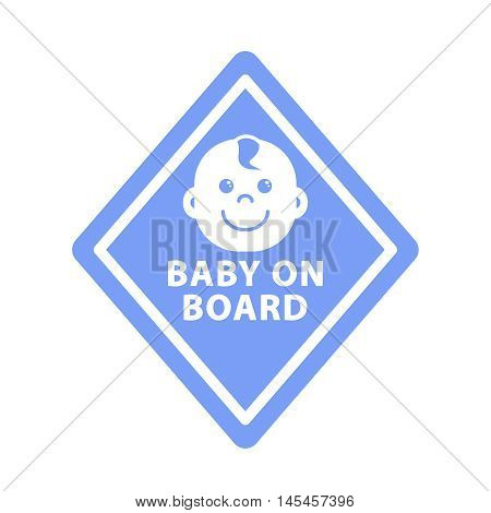 Baby on board sign on blue rhombus monochrome symbol outline icon flat vector illustration