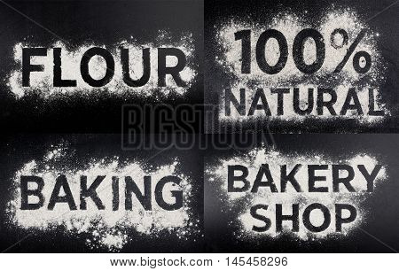 100 natural, gluten free food, word made of flour, table wooden background.
