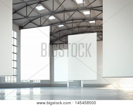 Blank white banners in bright hangar area. 3d rendering
