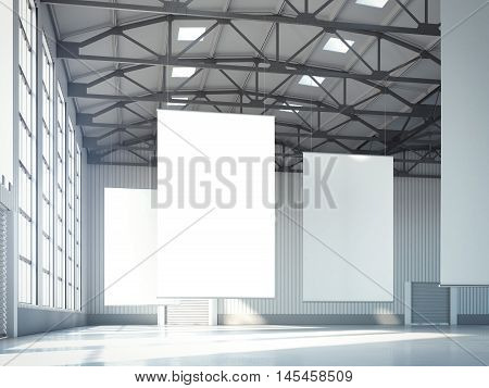 Blank white banners in bright hangar. 3d rendering