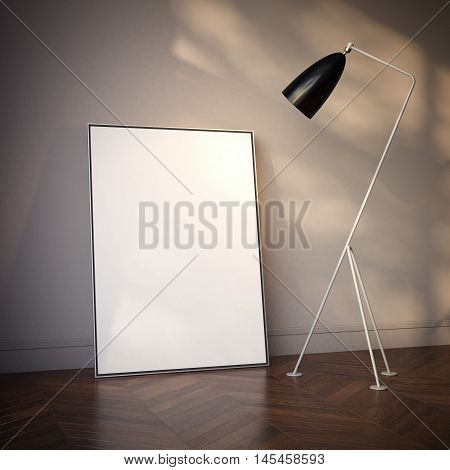 Interior with blank white canvas and floor lamp. 3d rendering