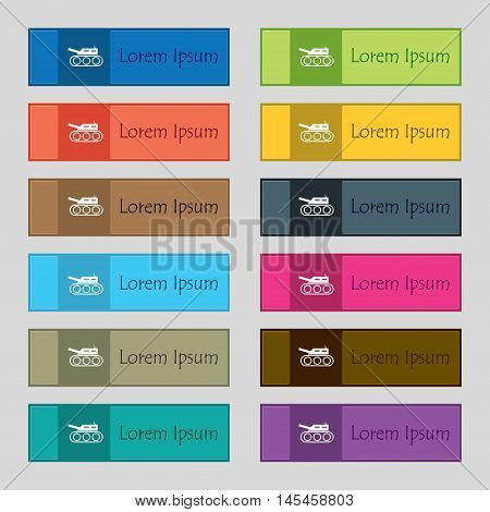 Tank, War, Army Icon Sign. Set Of Twelve Rectangular, Colorful, Beautiful, High-quality Buttons For