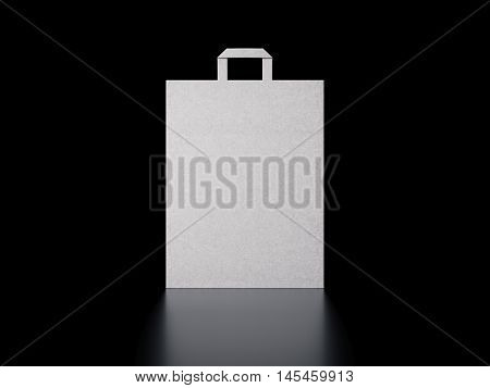 White paper bag in dark modern studio. 3d rendering