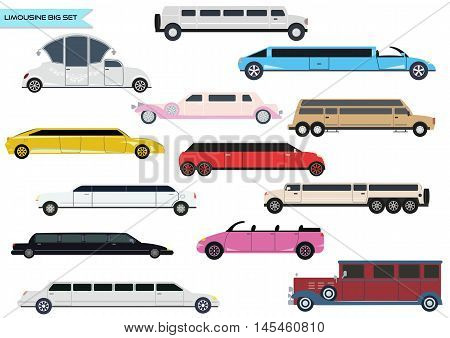 Big vector set of different types of limousines for rent.