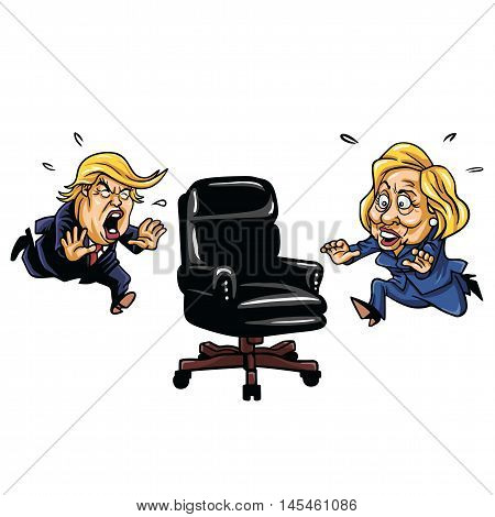 Republican Donald Trump versus Democrat Hillary Clinton Running For Presidential Chair