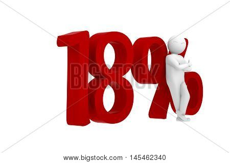 3d human leans against a red 18%