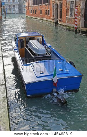 Funeral Hearse Boat With Casket in Venice Canal