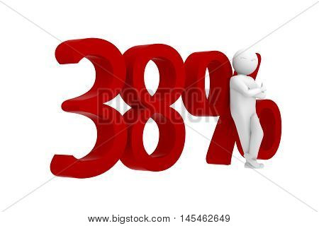 3d human leans against a red 38%